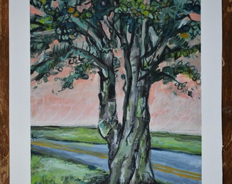 Acrylic Painting of a Tree at Sunrise 7.5 x 10
