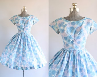 Vintage 1950s Dress / 50s Cotton Dress / Blue and White Circle Print Dress w/ Decorative Bows S