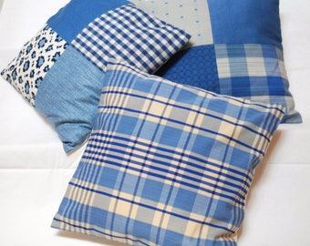 seaside blue pillow trio