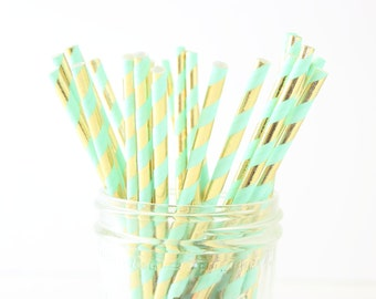 Mint & Gold Straws, Paper Straws, Party Straws, Wedding Straws, Gold Straws, Mint Straws, Mint Green Straws, Stripe Straws, Bar Straws