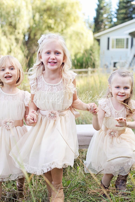 Charlotte Blumenmädchen Kleid Elfenbein Blumenmädchen Kleid
