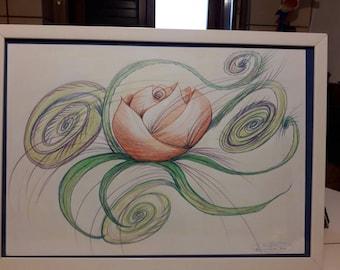 Pink Lotus 30 x 80 cm single drawing crayons