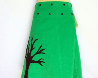 Lime green wrap around skirt - Ladies size 8 to 14 - corduroy, tree, woodlands