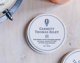 Letterpress Sip and See Party / Baby Announcement Coasters