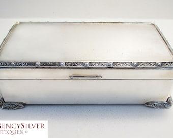 Quality Solid Sterling Silver Large Cigarette/Trinket Box Case, in Celtic/Lindisfarne dragons & knots design. Vintage Birmingham Hallmarked.
