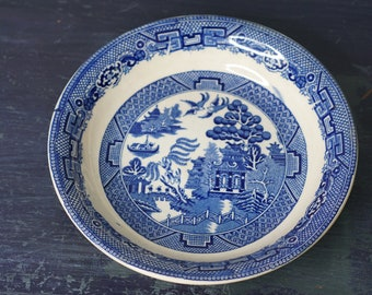 "Antique Allertons Co. Blue Willow Bowl England 8"" - Rare"