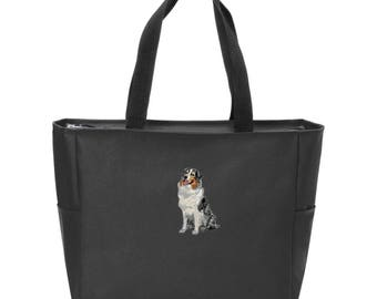 Australian Shepherd embroidered tote bag, personalized, zippered tote bag, mom gift, dog lover, reusable bag, vet tech, shopping bag, aussie