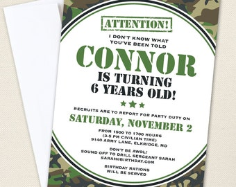 Camo or Army Party Invitations - Professionally printed *or* DIY printable