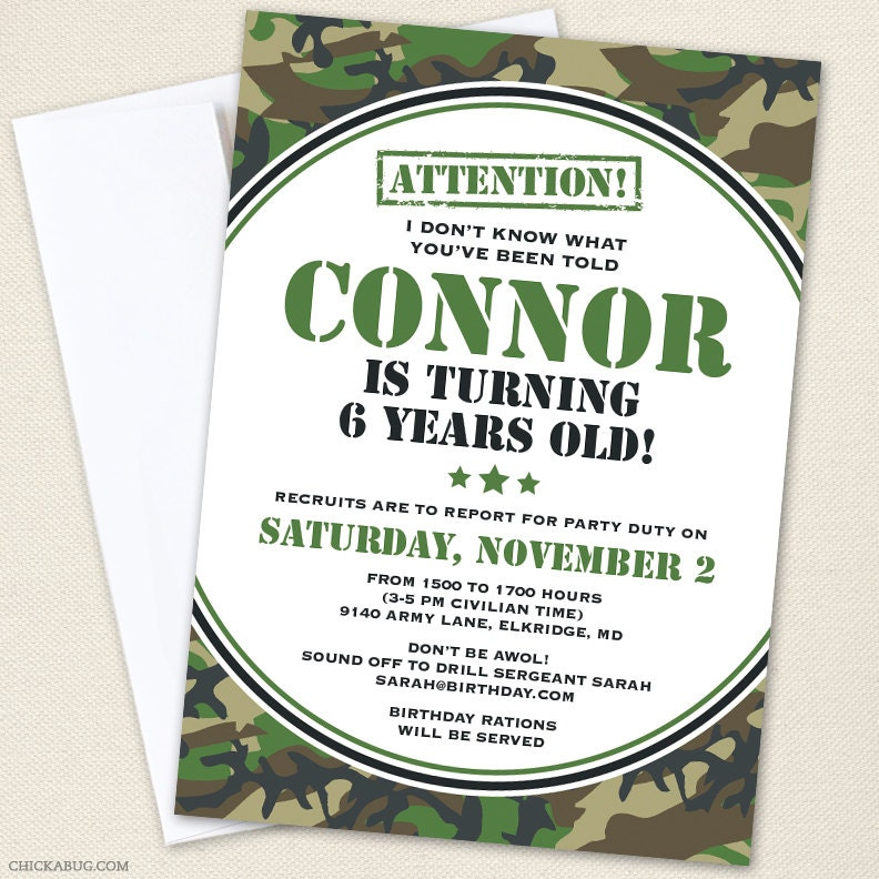 Camo or Army Party Invitations Professionally printed or