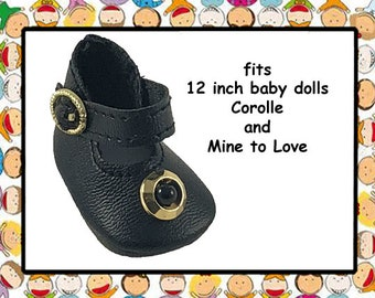 Vintage 1-3/4 inch x 1 inch Black Mary Jane Shoes for 12 inch baby doll/ Mine to Love 12 / Corolle Calin 12 inch