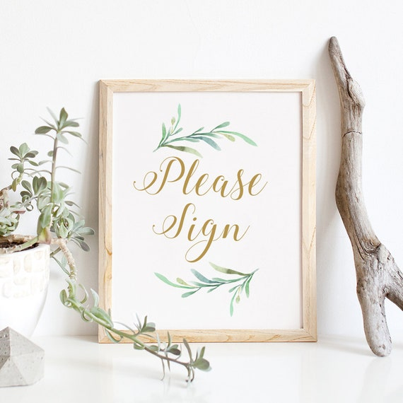 """Please Sign printable sign, Greenery Please Sign Wedding Printable, Wedding Signage, 8x10"""", Download and Print"""