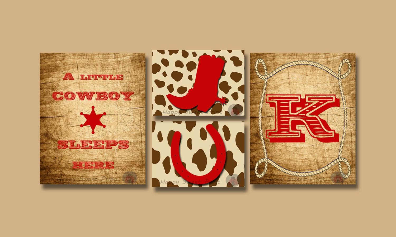 Personalized Rustic Cowboy nursery wall printscowboy canvas