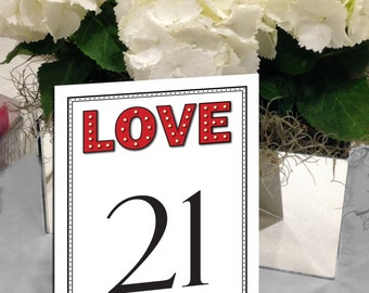 MarqueeTable Numbers, Love in Lights, Hollywood Glam, Hollywood Movie Table Numbers, Love Lights 1 - 50 Instant Download and Print