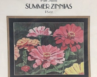 Mystitch Stitch Counted Cross Stitch Book Summer Zinnia Pam Sweda PS-2