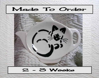 Tea Bag Holder Siamese Stencil Cat Handmade To Order In Clay by Gracie