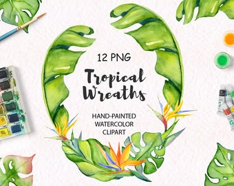 Tropical wreaths clipart Tropical leaves Floral clipart Watercolor leaves Summer clipart Watercolor clipart Tropical leaf Jungle clipart