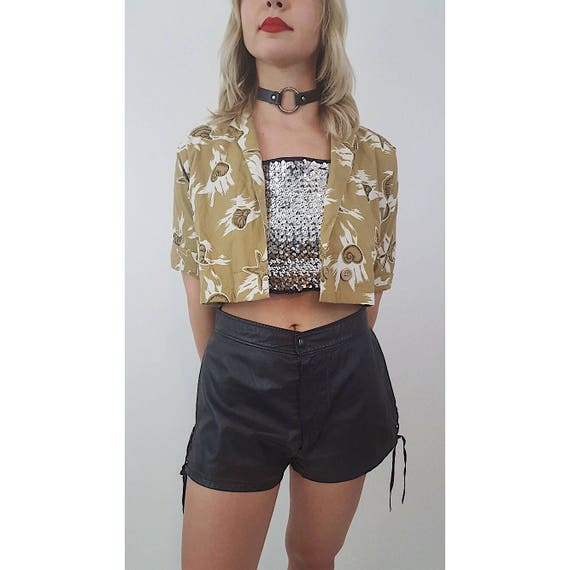 Vintage High Waist Black Leather Shorts - Womens Small Short Shorts Lace Up Sides - Hipster Spring Summer Goth Style Tie Up Boho Shorts