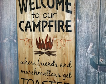 Camping Sign, Welcome to Our Campfire, Camper Decor, Wood Plank Sign, Camper Sign, RV Decor, Campground Sign, Camp Decor, Rustic Sign, Camp