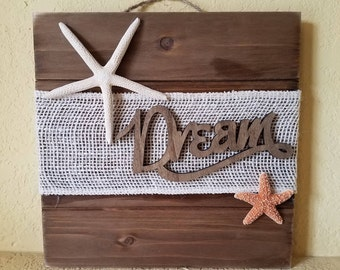 Starfish Wall Decor - Starfish Wood Sign with Burlap - Starfish Wall Art - Beach Decor - Starfish Decor - Coastal Decor - Nautical Decor