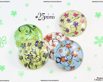 5 illustrated ø25mm series floral glass cabochons