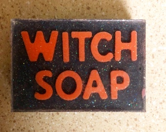 Witch Soap, Charcoal Soap, Activated Charcoal, Magic, Scent Midnight Oak Moss, Glycerin Soap, Glitter, goats milk soap, shea butter soap