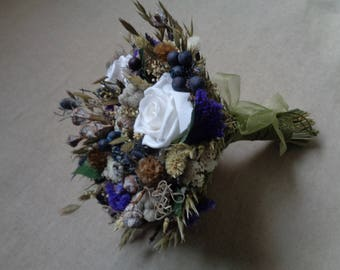 Woodland wedding country bouquet ,bridal bouquet wedding ,rustic wedding ,dried flowers with berries farm wedding bouquet