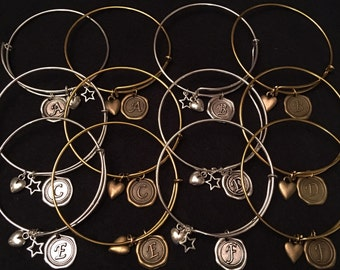INITIAL Wire wrap adjustable bangle bracelet with FREE shipping