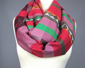 Infinity scarf, Mauve scarf, winter loop scarf, tribal scarf