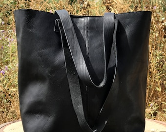 Sale!!! Black leather tote bag Leather bucket bag Crossbody tote Sturdy Black Tote Cross body Brushed large leather bag