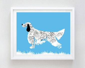 English Setter Dog Art - Wall art, english setter print, Dog breed, setters, blue belton English Setter, black and white setter