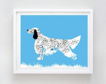Art de chien Setter Anglais - art mural, setter anglais impression, race de chien, setters, bleu belton Setter Anglais, setter noir et blanc
