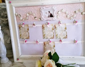 Table plan white powder and rose, in a spirit very shabby chic wedding