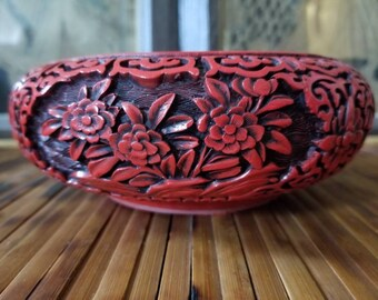 Chinese Cinnabar   Bowl   Chinoiserie