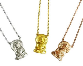 """Tiny Gold or Silver """"Buddha"""" Necklace, Buddha Necklace - Dainty, Simple, Birthday Gift, Religious Yoga Gift"""