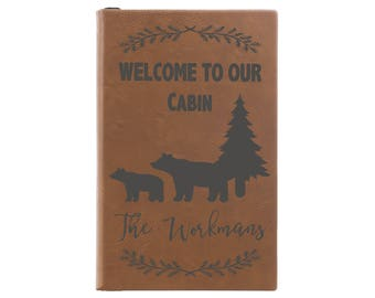 Guest Book, Leather Journal, Leather Notebook, Personalized Journal, Guestbook, Custom Guest Book, Welcome To Our Cabin  --28365-LJ05-042