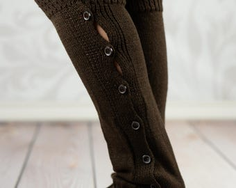Brown Knit Button-Down Leg Warmers With Crochet Rim