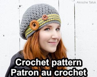 Ekinox hat. Crochet hat and cowl pattern by Akroche Tatuk (PDF ONLY)
