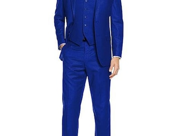 Mens ALBERTO NARDONI Festive Blue 3 Piece Dress Formal Suit with Flat Front Pants High Quality