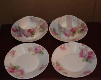 Bavaria China Rose 2 cups 4 saucers