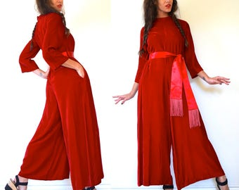 Vintage 60s 70s LUXURIOUS Scarlet Red Palazzo Pant Jumpsuit with Fringe Sash Belt (size small, medium)