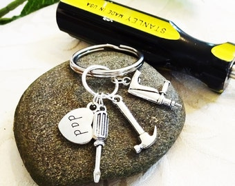 CHOOSE 3 TOOLS KEYCHAIN -  choose from dad, son, brother, uncle or the grandpa charm (charms are premade - I cannot change them)