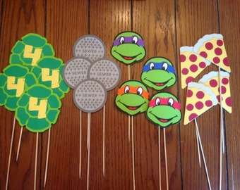 TMNT Centerpiece / Teenage Mutant Ninja Turtle Centerpiece, 16 Piece Diecut Birthday Centerpiece Set