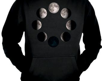 Moon Lunar Phases Pullover Hoodie Sweatshirt New Crescent Full - MHD-DYS073