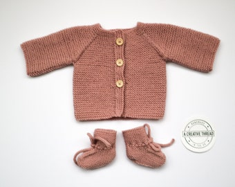 Hand Knit Baby Cardigan + Bootie Set - Dusky Pink
