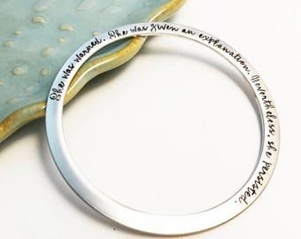 Nevertheless, she persisted ~ Custom Flat Stainless Steel Bangle ~ Bracelet ~ Stacking Bangle ~ Gift for Her ~ Rose Gold ~ Pink ~ Silver