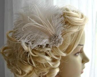 Ivory Rhinestone head piece fascinator Bridal White hairpiece headbpiece Feather Fascinator 1920s Headpiece ivory wedding fascinator