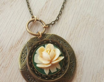 Necklace, Victorian Rose, Brass and Cast Resin