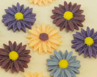 16 Vintage Violet Yellow & Plum Daisy Cabochons 27mm