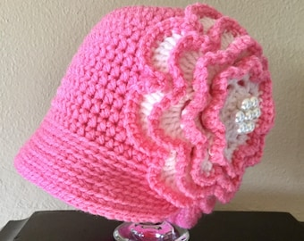 Toddler to Young Chikd Crochet Pink Cloche with Big Pearled Flower