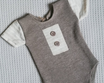 newborn boy brown romper, newborn boy picture outfit, baby boy romper, Newborn photo prop,  newborn boy clothes, baby boy brown romper